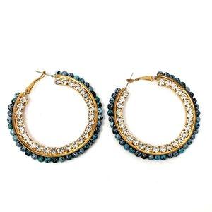 Turquiose Glitter Goldtone Hoop Earrings